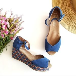 TOMS Blue Suede Leather Wedge